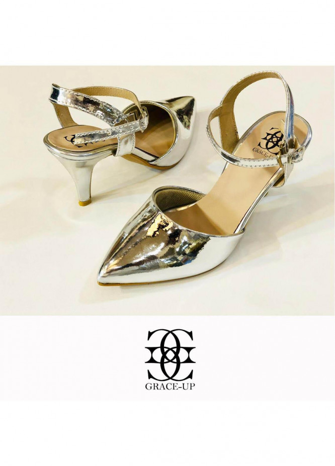 Grace Up Shoes Formal Style  Heel  0469 SILVER