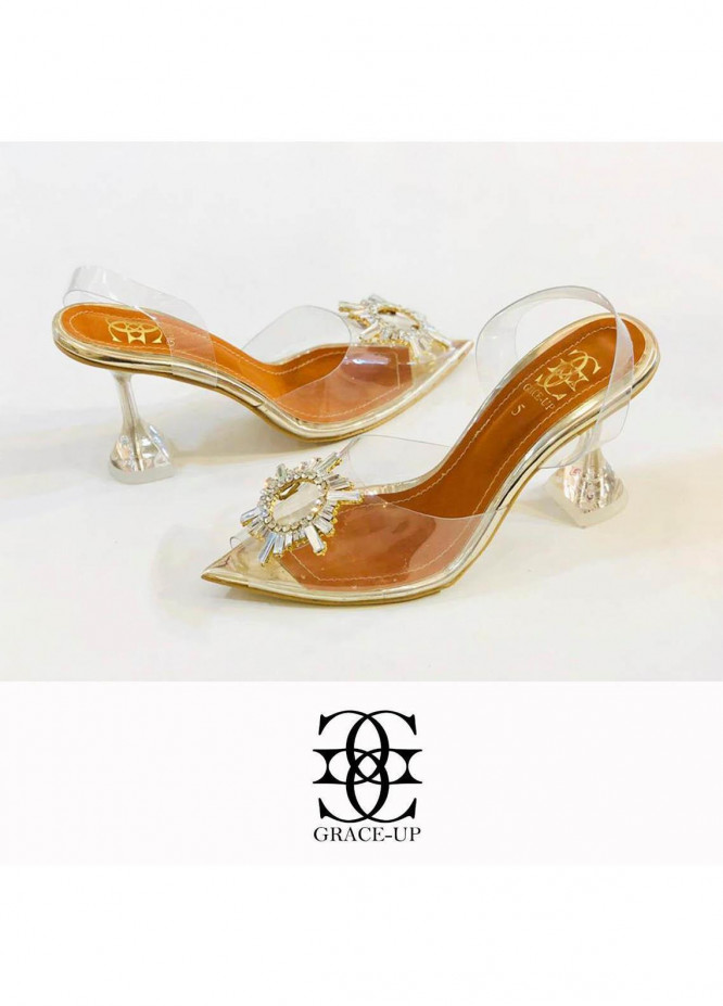 Grace Up Shoes Formal Style  Wedge Pencil Heel  0473 GOLDEN