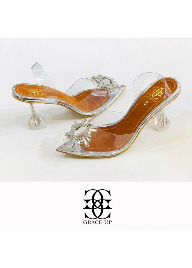 Grace Up Shoes Formal Style  Wedge Pencil Heel  0473 SILVER
