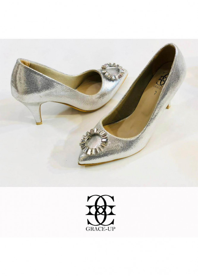 Grace Up Shoes Formal Style  Heel  0474 SILVER