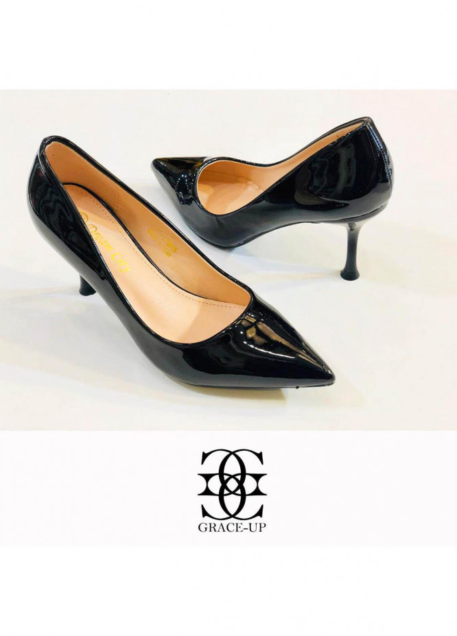 Grace Up Shoes Formal Style  Pencil Heel  0502 BLACK