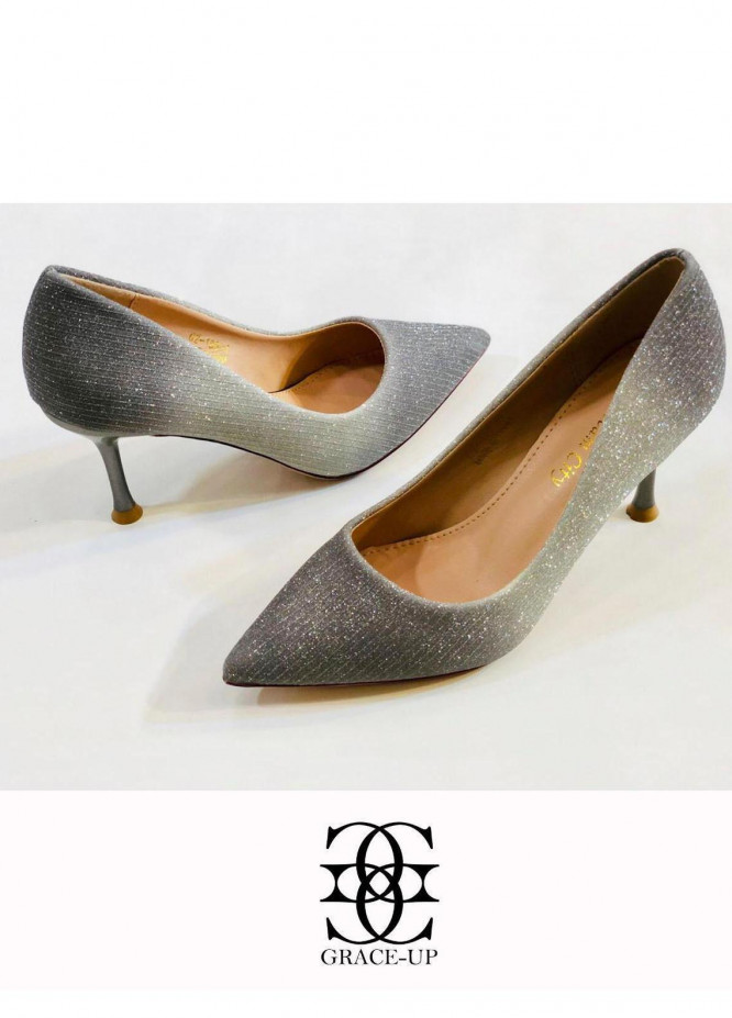 Grace Up Shoes Formal Style  Heel  0510 GRAY