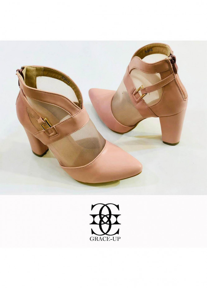 Grace Up Shoes Formal Style  Block Heel  0511 PINK