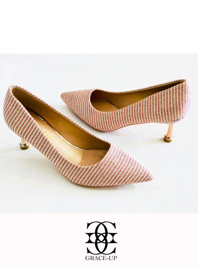 Grace Up Shoes Formal Style  Heel  0523 PEACH