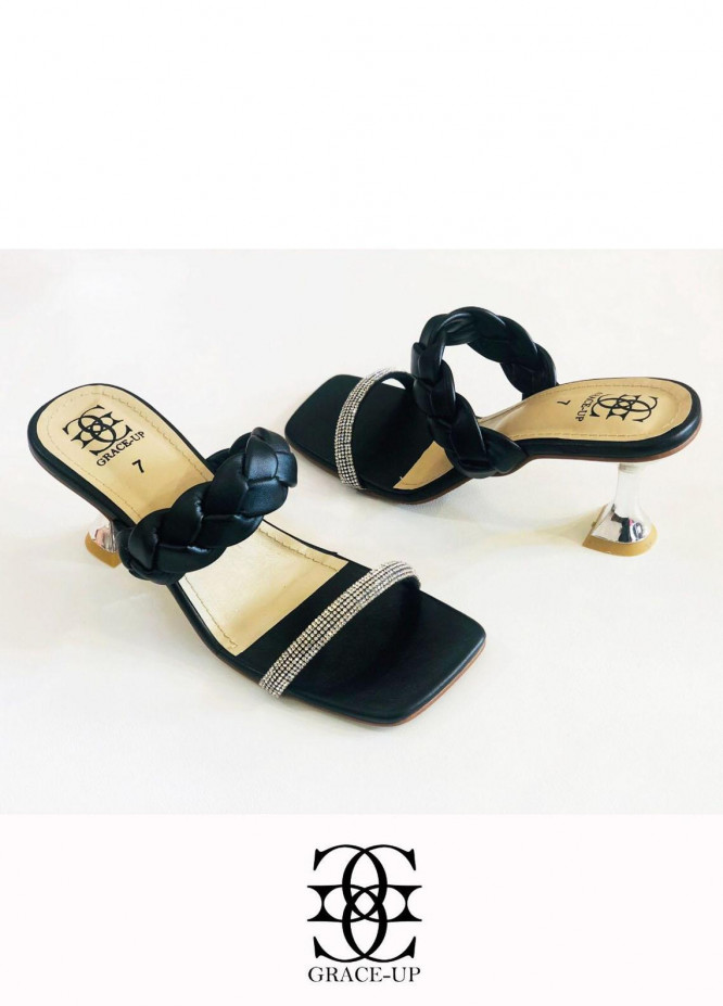 Grace Up Shoes Formal Style  Heels  840 BLACK