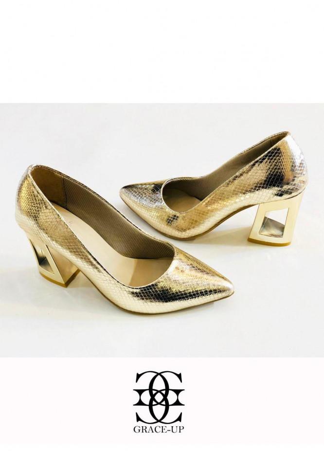 Grace Up Shoes Formal Style  Block Heels  483 GOLDEN