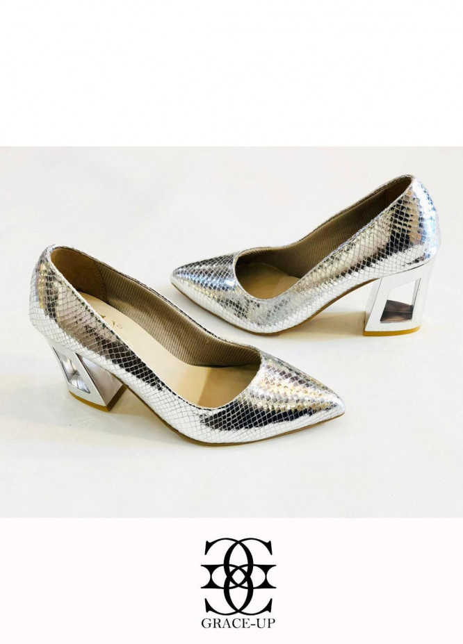 Grace Up Shoes Formal Style  Block Heels  483 SILVER