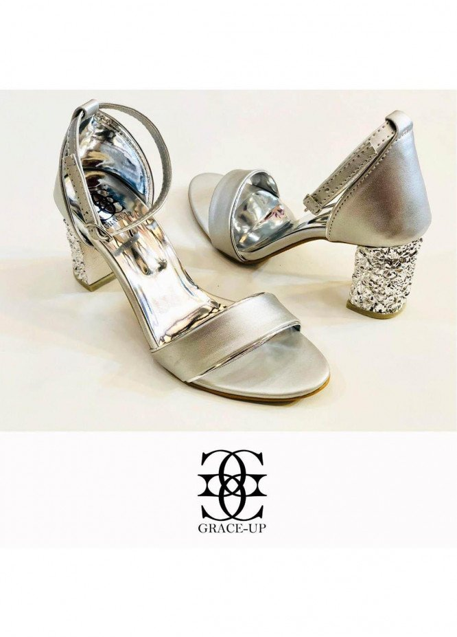 Grace Up Shoes Formal Style  Block Heel  808 SILVER