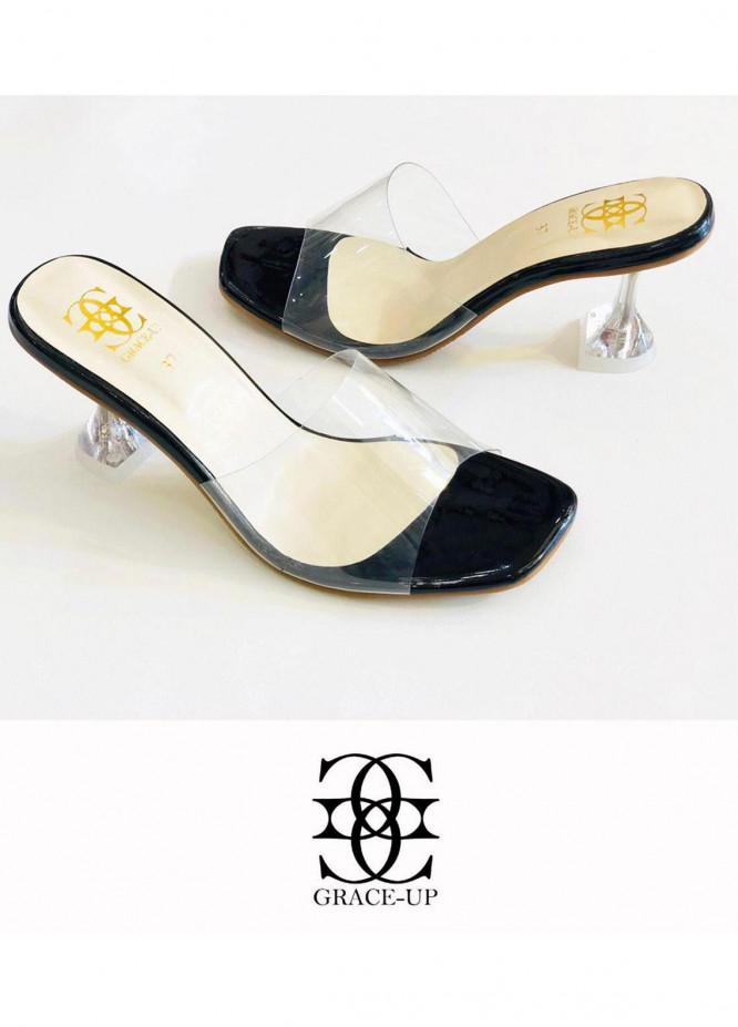 Grace Up Shoes Formal Style  Heel  817-black