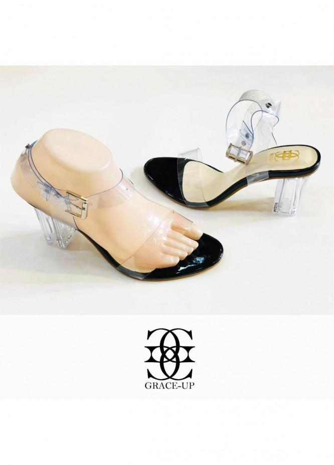 Grace Up Shoes Formal Style  Block Heel  822 BLACK