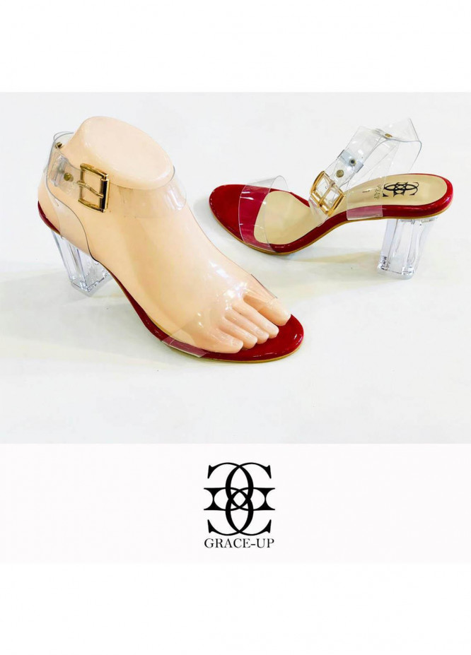 Grace Up Shoes Formal Style  Block Heel  822 RED