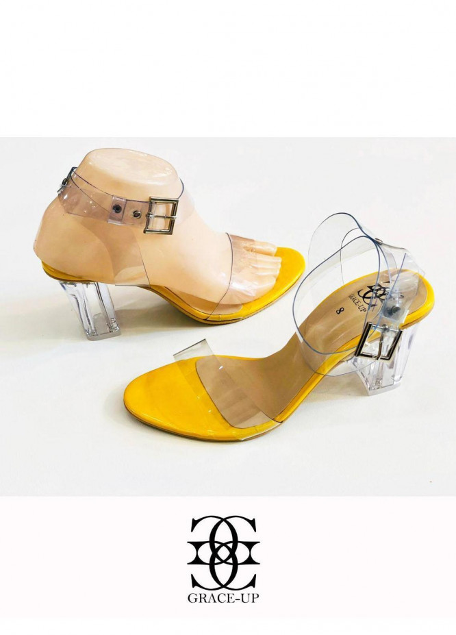 Grace Up Shoes Formal Style  Block Heels  822 Yellow