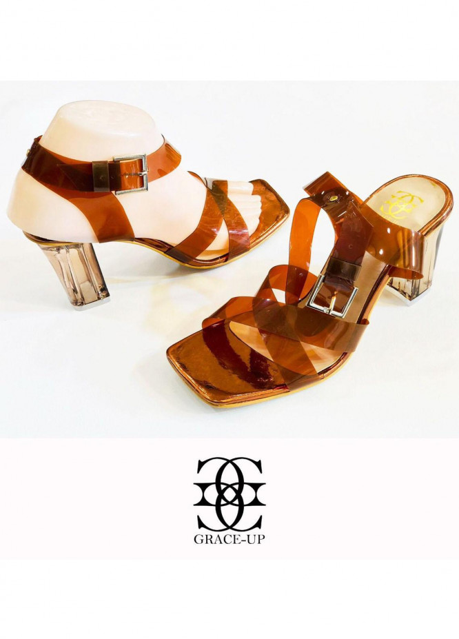 Grace Up Shoes Formal Style  Heels  841 BROWN