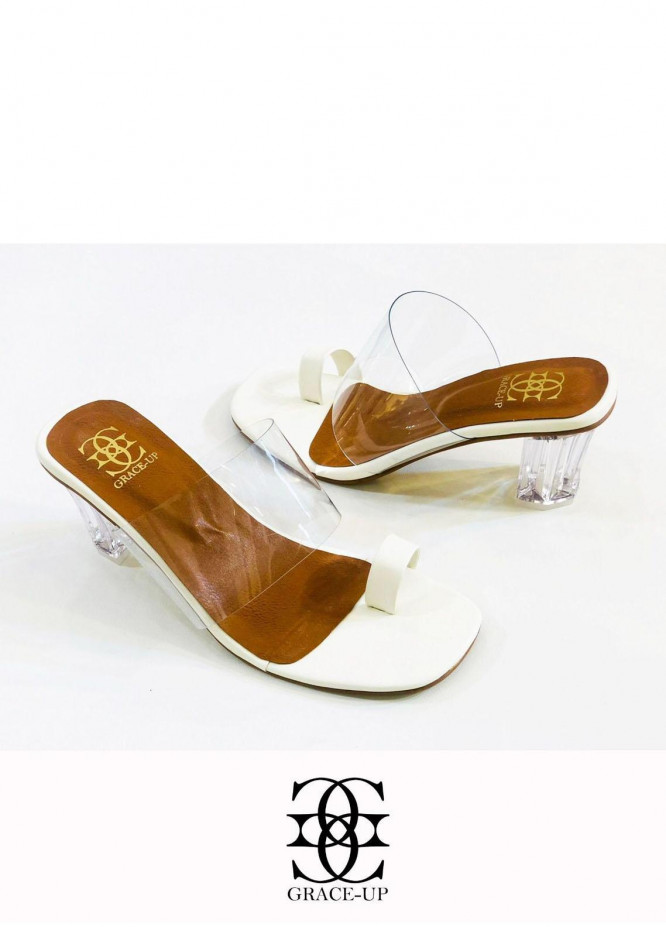 Grace Up Shoes Formal Style  Block Heels  844 WHITE