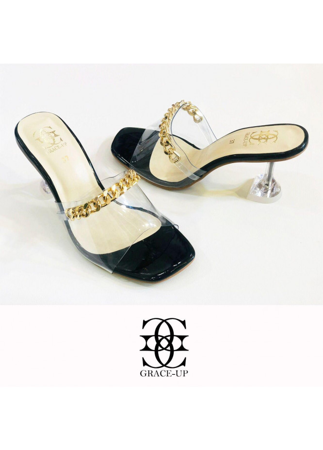 Grace Up Shoes Formal Style  Heel  846 BLACK