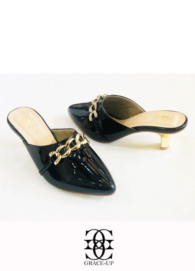 Grace Up Shoes Formal Style  Heel  848 BLACK