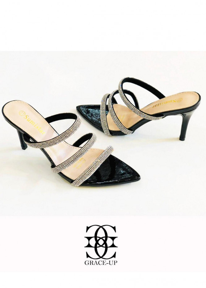 Grace Up Shoes Formal Style  Heel  A351 BLACK
