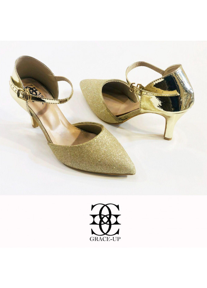 Grace Up Shoes Formal Style  Heel  O486 GOLDEN