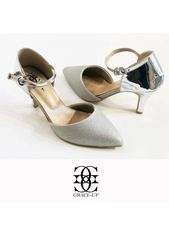 Grace Up Shoes Formal Style  Heel  O486 SILVER