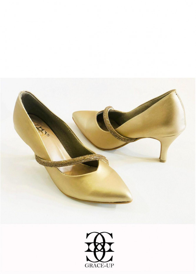 Grace Up Shoes Formal Style  Heel  O493 GOLDEN