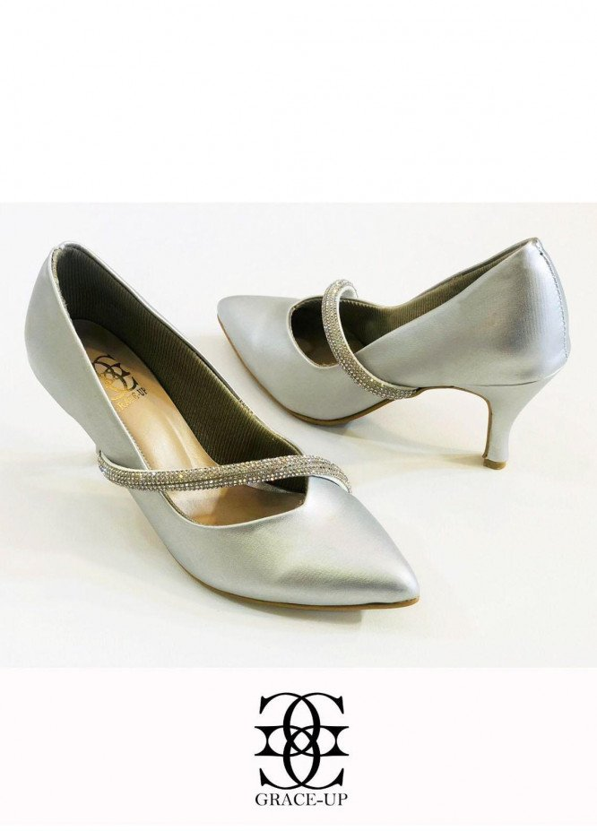 Grace Up Shoes Formal Style  Heel  O493 SILVER