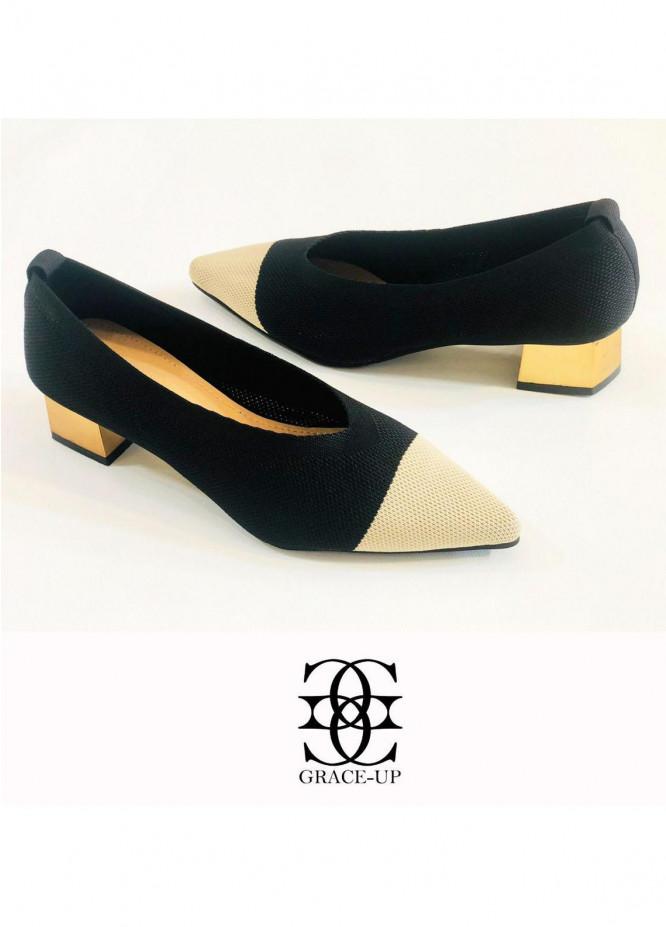 Grace Up Shoes Formal Style  Heel  O527 BLACK