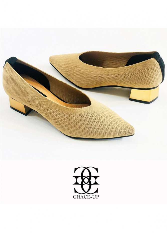 Grace Up Shoes Formal Style  Heel  O527 FAWN