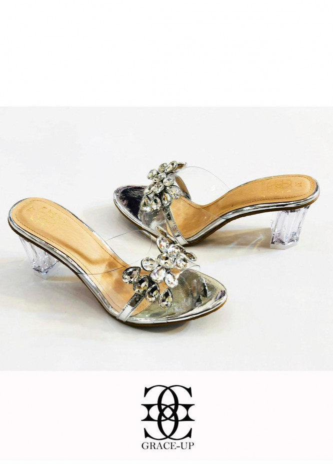 Grace Up Shoes Formal Style  Block Heels  830 SILVER
