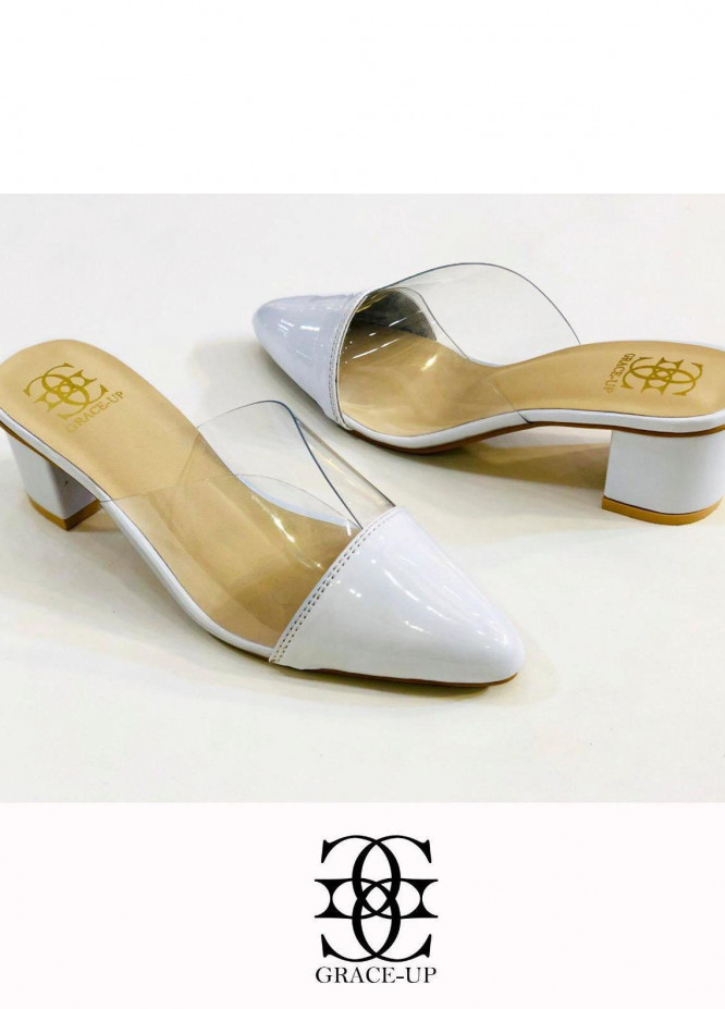 Grace Up Shoes Formal Style  Block Heels  891 WHITE