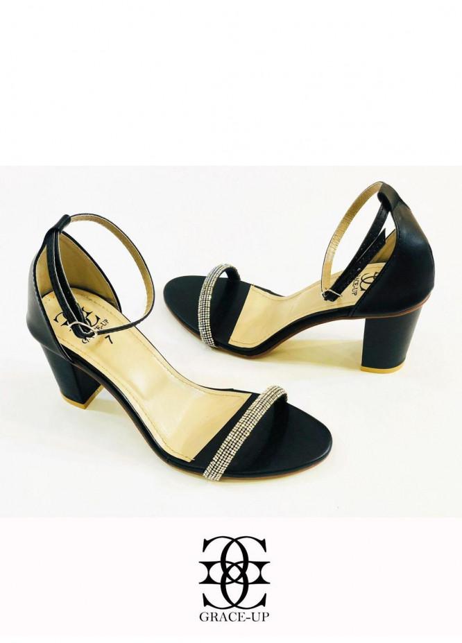 Grace Up Shoes Formal Style  Block Heels  845 BLACK