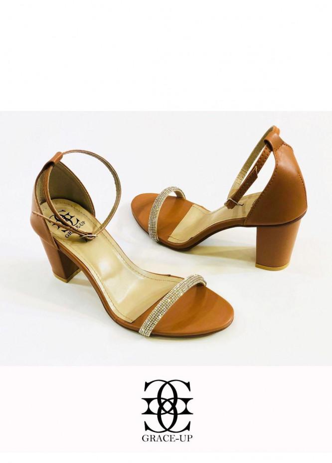 Grace Up Shoes Formal Style  Block Heels  845 MUSTARD