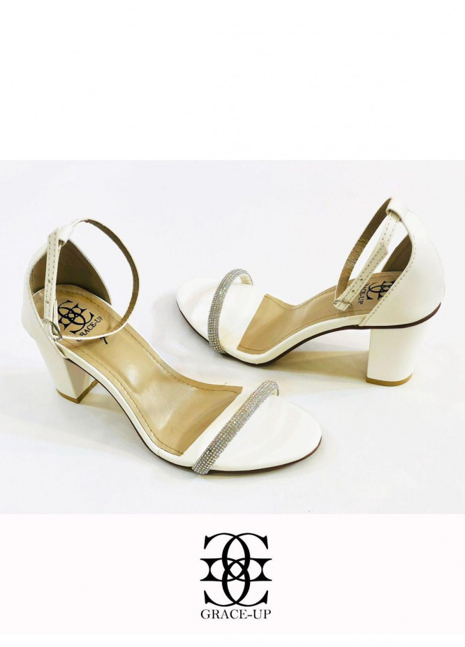 Grace Up Shoes Formal Style  Block Heels  845 WHITE