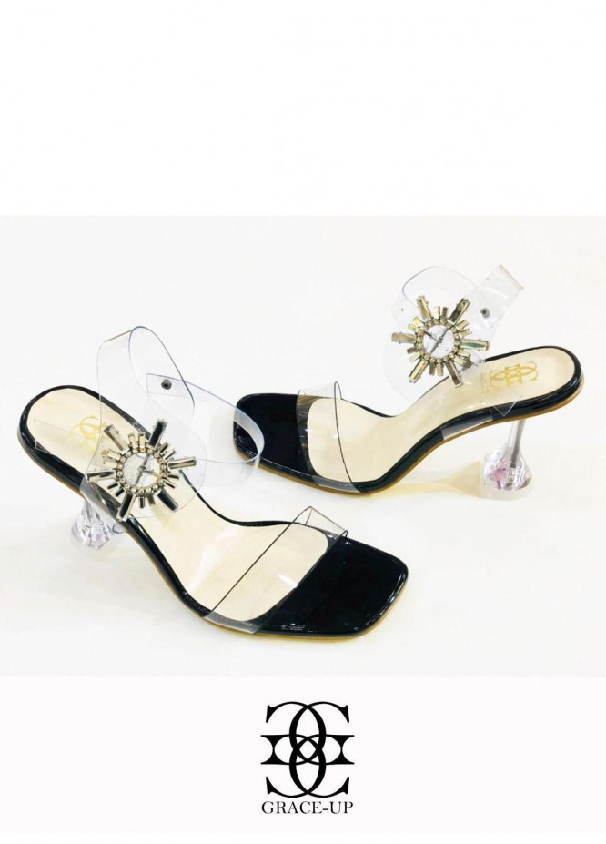 Grace Up Shoes Formal Style  Heels  981 BLACK