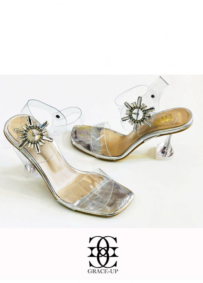 Grace Up Shoes Formal Style  Heels  981 SILVER