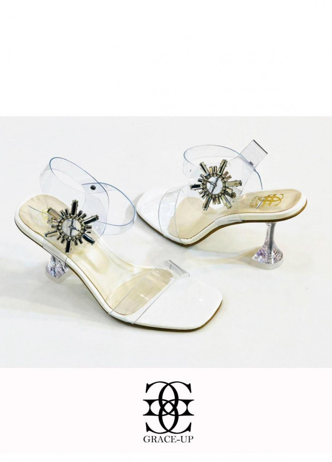 Grace Up Shoes Formal Style  Heels  981 WHITE