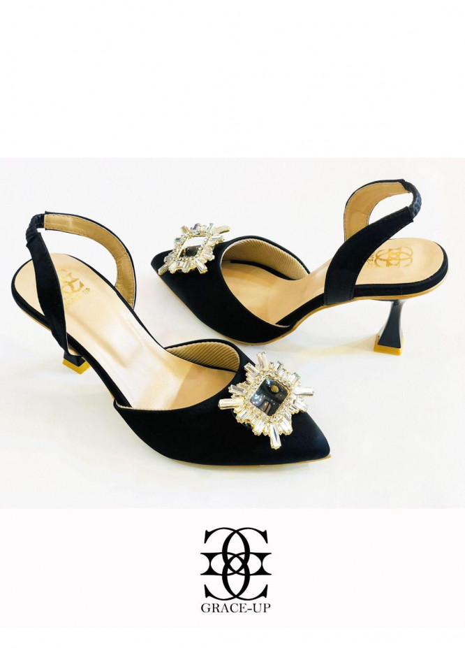 Grace Up Shoes Formal Style  Heels  O492 BLACK