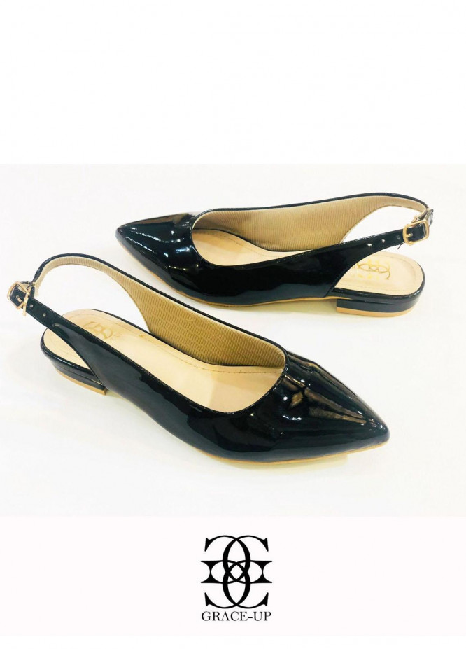 Grace Up Shoes Casual Style  Flats  O639 BLACK