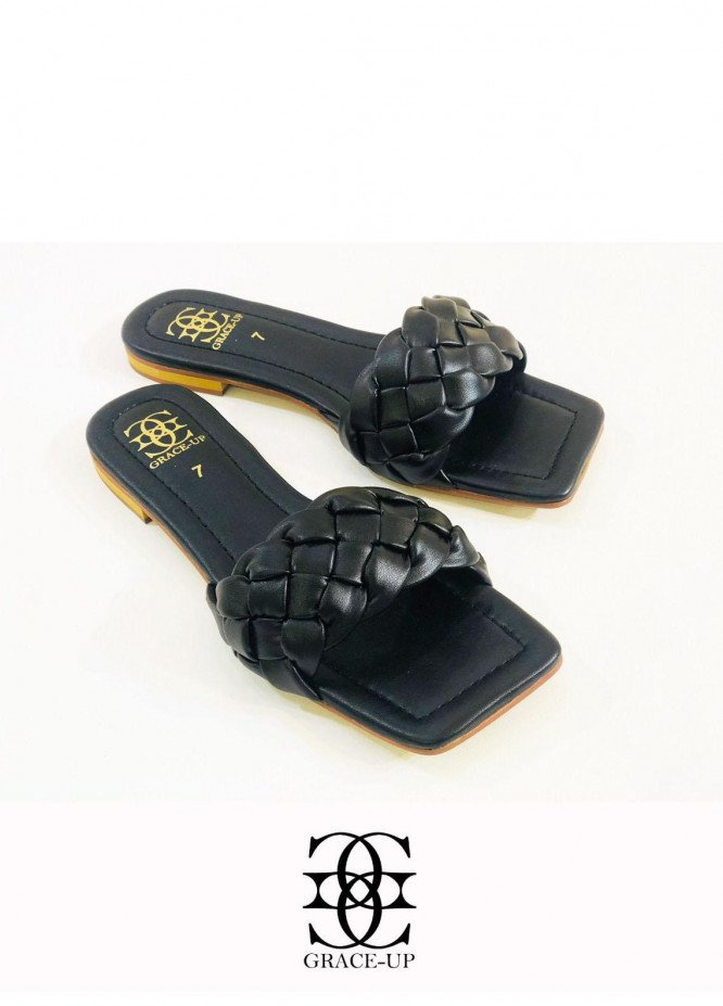 Grace Up Shoes Casual Style  Flats  O641 BLACK