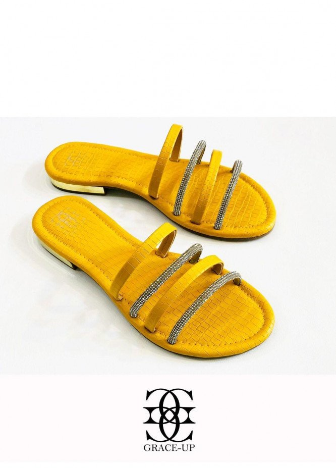 Grace Up Shoes Casual Style  Flats  O642 YELLOW