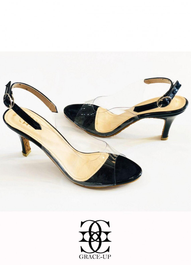 Grace Up Shoes Formal Style  Heels  482 Black