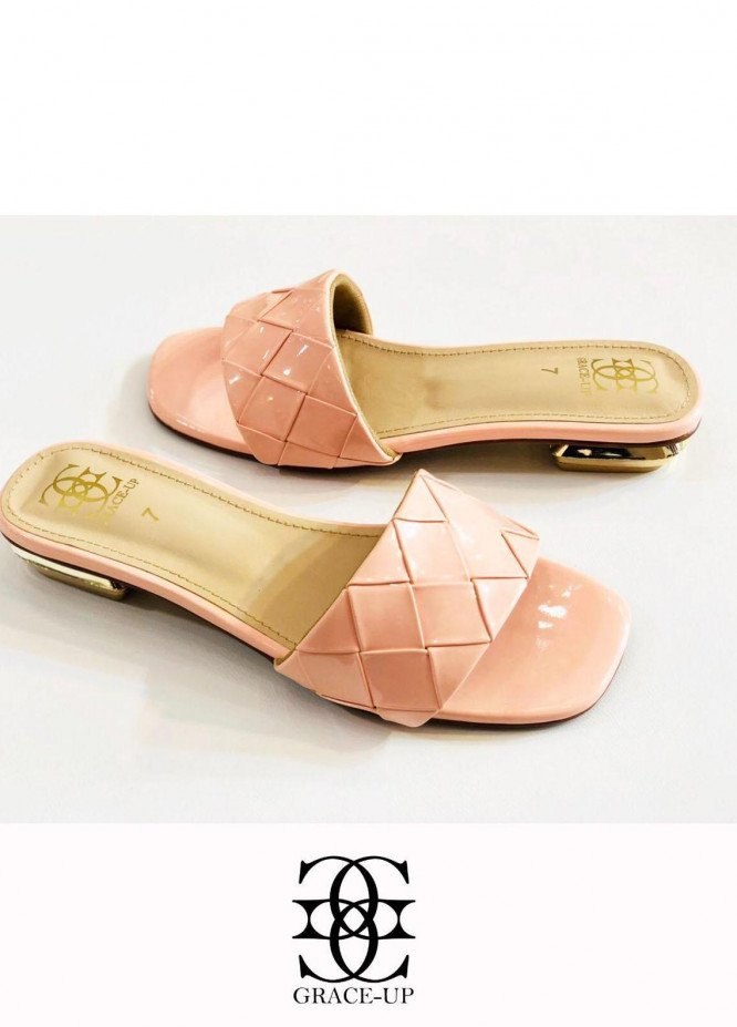 Grace Up Shoes Casual Style  Flats  625 Peach