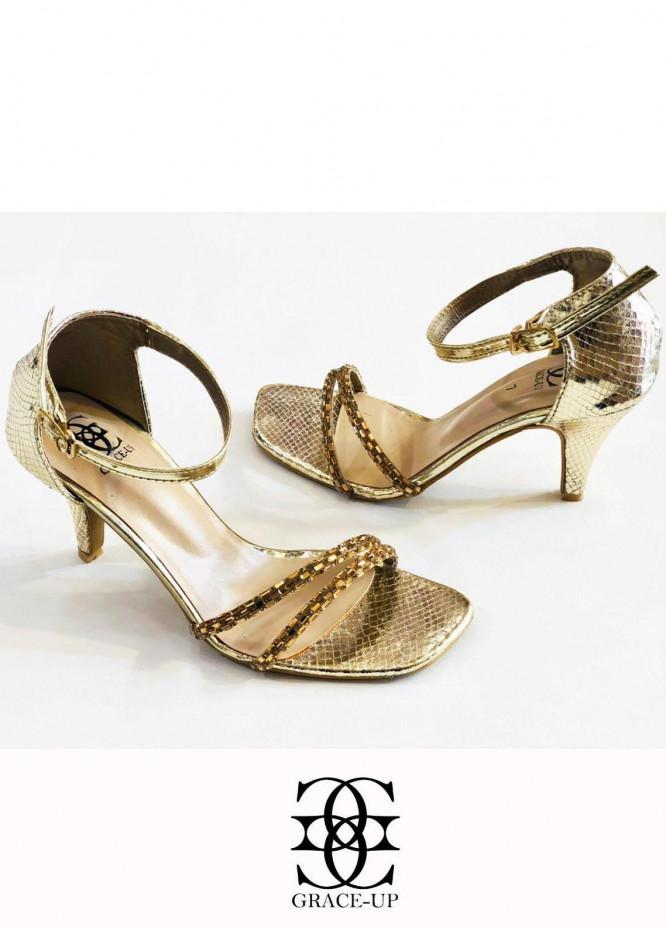 Grace Up Shoes Formal Style  Heels  985 Golden