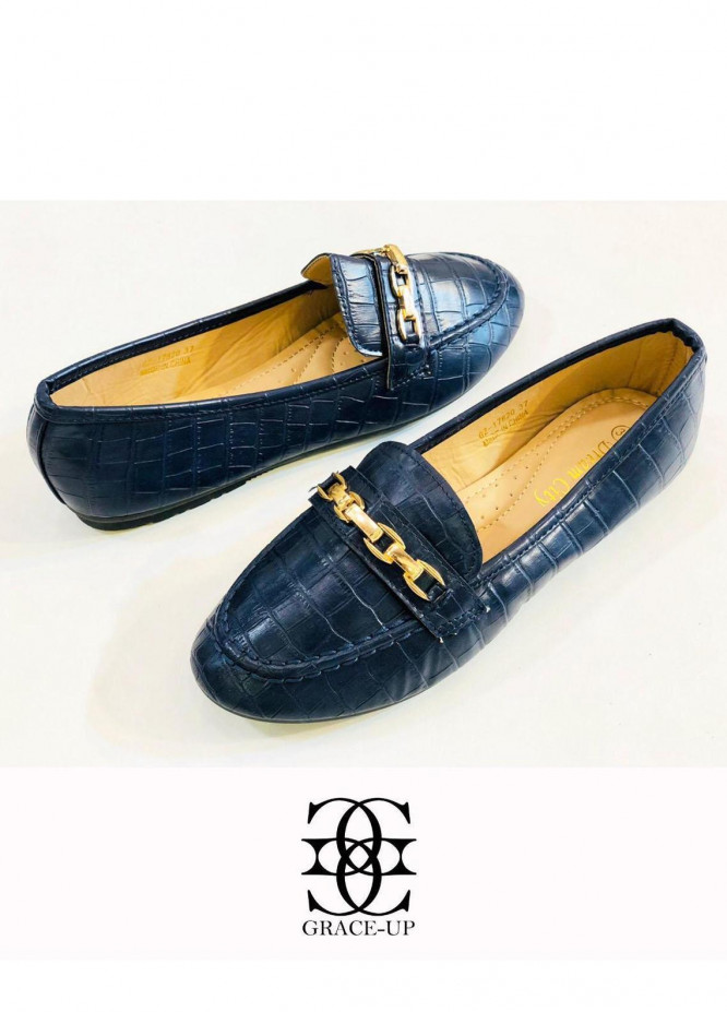 Grace Up Shoes Casual Style  Loofers  A306 Blue