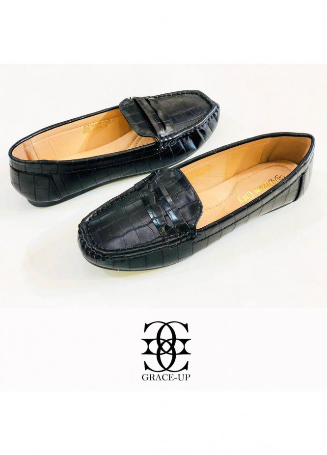 Grace Up Shoes Casual Style  Loofers  A313 BLACK
