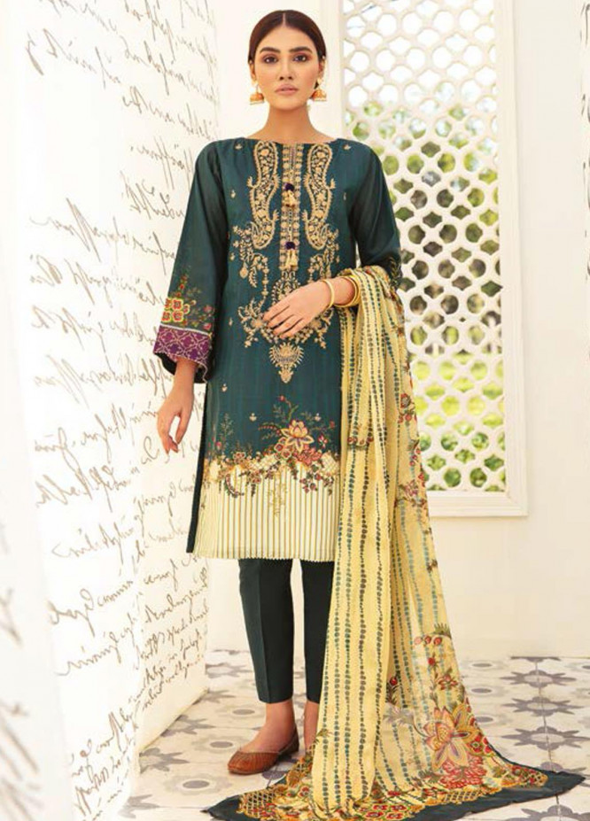 Guftagu by Orient Textiles Embroidered Lawn Suits Unstitched 3 Piece OT21G D-043-Green - Festive Collection