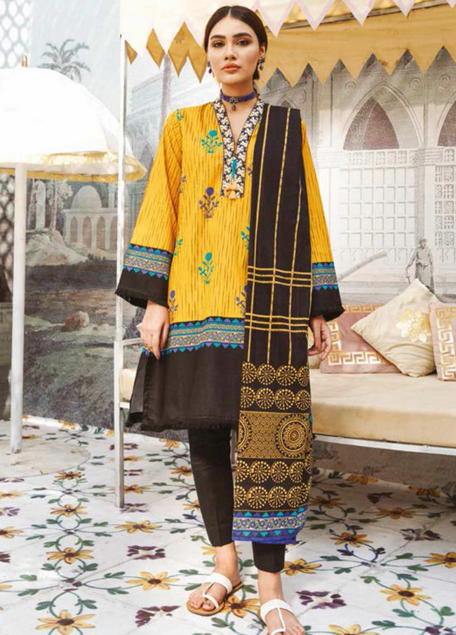 Guftagu by Orient Textiles Embroidered Lawn Suits Unstitched 2 Piece OT21G D-062-Mustard - Festive Collection