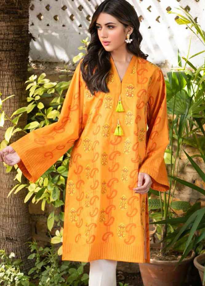 Guftagu by Orient Textiles Embroidered Jacquard  Unstitched Kurties OT21G D-074-Mustard - Festive Collection
