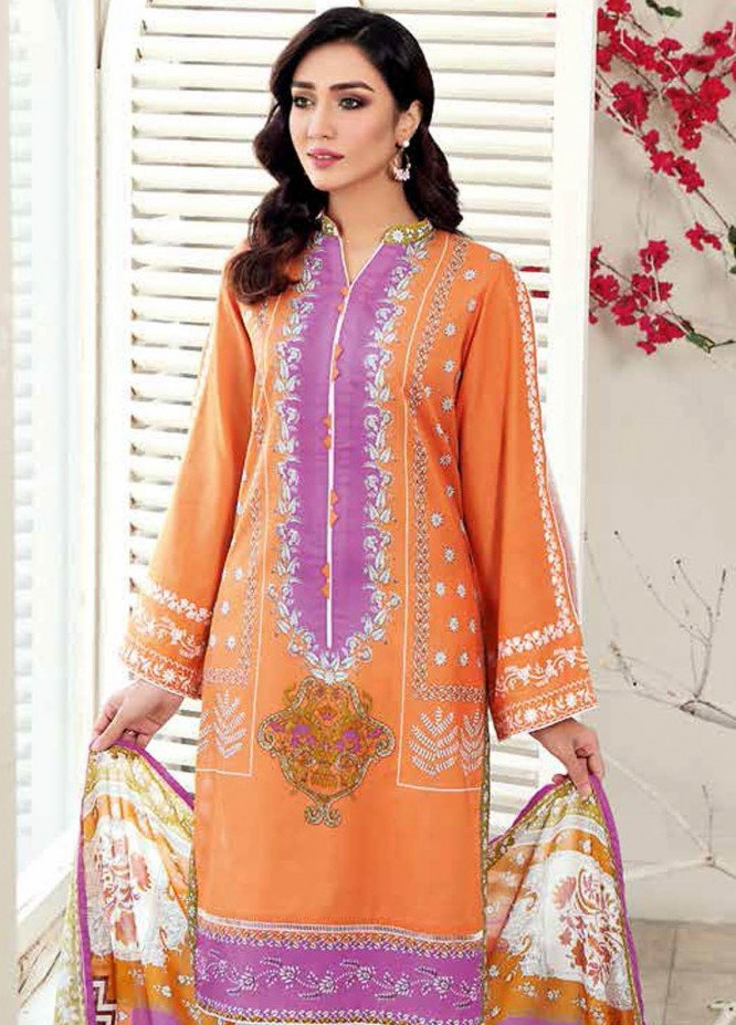 Gul Ahmed Embroidered Lawn Suits Unstitched 3 Piece GA21BL CL1004 - Summer Collection