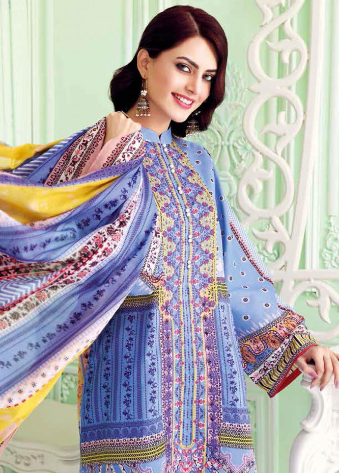 Gul Ahmed Embroidered Lawn Suits Unstitched 3 Piece GA21BL CL1017B - Summer Collection