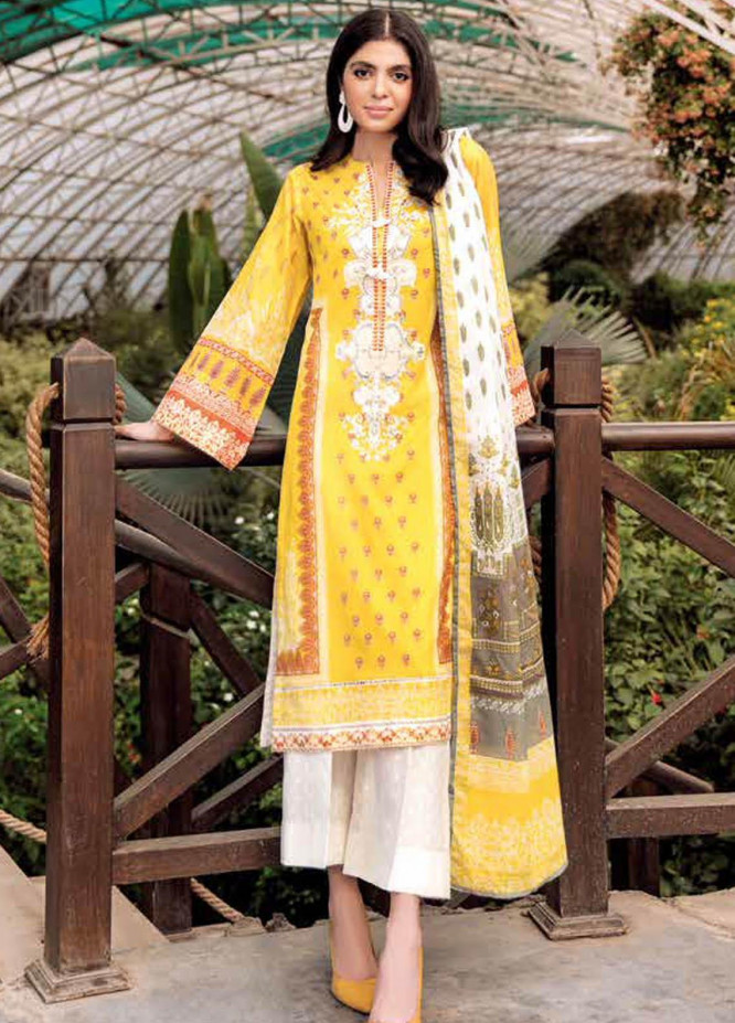 Gul Ahmed Embroidered Lawn Suits Unstitched 3 Piece GA21BL CL1022 - Summer Collection